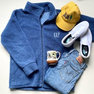 GAP Fleece Like Blue Zip Up Sweater